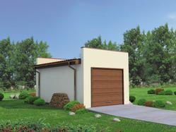 Projekt garażu GZ18 - jednostanowiskowy. Prosta bryła nie zaburzona żadnymi zbędnymi elementami, dach jednospadowy- te elementy wpływają na jednolitą formę garażu.