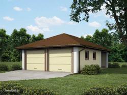 Garaż dwu-stanowiskowy z dodatkowym pomieszczeniem gospodarczym. Dach kopertowy.