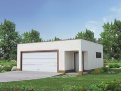 Współczesny projekt garażu dwustanowiskowego, z dodatkowo wydzieloną powierzchnią użytkową posiadającą niezależne wejście z przodu budynku. Niski kąt nachylenia dachu.