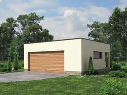 Projekt garażu dwustanowiskowego, z dodatkowo wydzieloną powierzchnią użytkową posiadającą niezależne wejście z tyłu budynku. Współczesna spójna bryła oszczędna w detal.