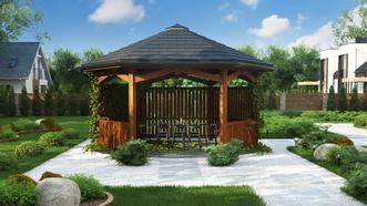 Piękna altana jest doskonałym uzupełnieniem domu i ogrodu. Z pewnością nie raz umili Ci rodzinny posiłek czy wieczorne spotkanie z przyjaciółmi. Szczególnie w cieplejszych okresach. Warto o niej pomyśleć już na etapie planowania zagospodarowania działki. Tym bardziej, że teraz, nasz autorski projekt stylowej altany otrzymasz GRATIS do każdego projektu domu zamówionego bezpośrednio na z500.pl.  W dokumentacji projektowej znajdziesz szczegółowy opis altany, zestawienie materiałów, czytelne rysunki techniczne oraz formularz zgłoszenia budowy.