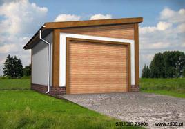 Projekt Garażu jednostanowiskowego, przekrytego dachem jednospadowym. Bryła budyknu pozwala usytuować go w ostrej granicy działki lub w sąsiedztwie istniejącej zabudowy.