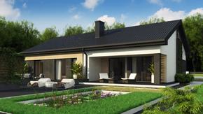 Z349 - Dom parterowy z dachem 2-spadowym, 4 sypialniami oraz przestronną strefą dzienną
