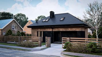 Dom parterowy z dachem kopertowym, poddaszem użytkowym, salon, 4 pokoje, garaż