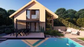 Z470 - Projekt prostego domu o powierzchni 100m2 z oranżerią.
