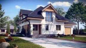 Z284 - Atrakcyjny dom o tradycyjnej formie z opcją aranżacji pomieszczenia nad garażem.